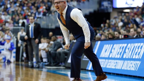 <p>               Virginia Tech coach Buzz Williams yells across the court to his players during the first half of the team's NCAA men's college basketball tournament East Region semifinal against Duke in Washington, Friday, March 29, 2019. (AP Photo/Patrick Semansky)             </p>