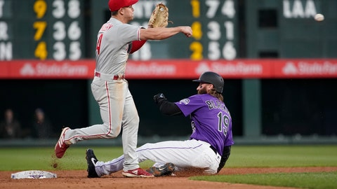 <p>               Philadelphia Phillies second baseman Scott Kingery throws to first after forcing out Colorado Rockies' Charlie Blackmon (19) during the third inning of a baseball game Thursday, April 18, 2019, in Denver. David Dahl was safe at first. (AP Photo/Jack Dempsey)             </p>