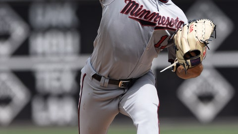 <p>               Minnesota Twins' Jose Berrios pitches during the first inning of a baseball game against the Philadelphia Phillies, Sunday, April 7, 2019, in Philadelphia. (AP Photo/Michael Perez)             </p>