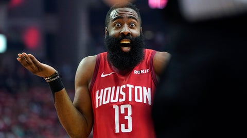 <p>               Houston Rockets guard James Harden (13) reacts to an official's call during the first half in Game 5 of an NBA basketball playoff series against the Utah Jazz, in Houston, Wednesday, April 24, 2019. (AP Photo/David J. Phillip)             </p>