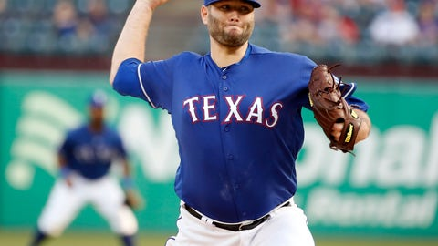 <p>               Texas Rangers starting pitcher Lance Lynn (35) throws against the Los Angeles Angels during the first inning of a baseball game Wednesday, April 17, 2019, in Arlington, Texas. (AP Photo/Michael Ainsworth)             </p>