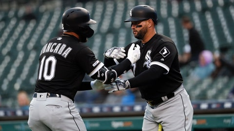 <p>               Chicago White Sox's Yoan Moncada (10) celebrates his solo home run with Yonder Alonso, against the Detroit Tigers during the first inning of a baseball game in Detroit, Friday, April 19, 2019. (AP Photo/Paul Sancya)             </p>
