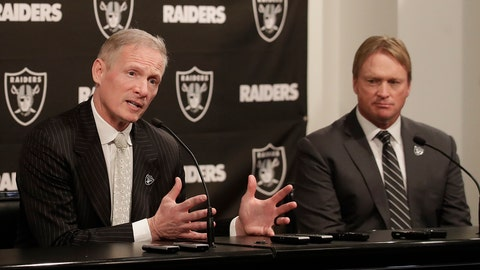 <p>               FILE - In this Monday, Dec. 31, 2018, file photo, Mike Mayock, left, speaks as Oakland Raiders head coach Jon Gruden listens at a news conference announcing Mayock as the general manager at the team's headquarters in Oakland, Calif. Mayock knows he will be highly scrutinized with three first-round picks thanks to Gruden's much-criticized trades. (AP Photo/Jeff Chiu, File)             </p>