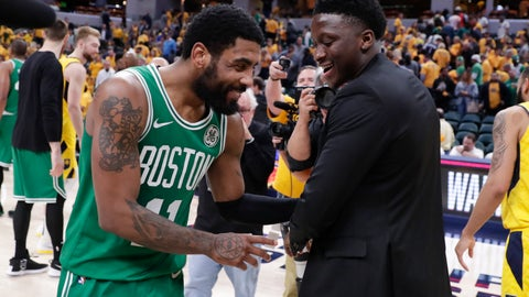 <p>               Boston Celtics guard Kyrie Irving (11) isa congratulated by injured Indiana Pacers guard Victor Oladipo (4) following Game 4 of an NBA basketball first-round playoff series in Indianapolis, Sunday, April 21, 2019. The Celtics defeated the Pacers 110-106 to win the series 4-0. (AP Photo/Michael Conroy)             </p>