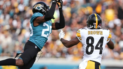 """<p>               FILE - In this Nov. 18, 2018, file photo, Jacksonville Jaguars cornerback Jalen Ramsey, left, intercepts a pass in front of Pittsburgh Steelers wide receiver Antonio Brown (84) during the first half of an NFL football game in Jacksonville, Fla. Ramsey responded to Tom Coughlin's public criticism Friday, April 19, saying the team knows why he's skipping voluntary workouts. Ramsey did not elaborate on the reason for his absence in his Twitter post, but said he will be """"ready when it's time."""" (AP Photo/Gary McCullough, File)             </p>"""