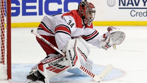 <p>               Carolina Hurricanes goaltender Petr Mrazek, of the Czech Republic, guards his net against the New York Islanders during the second period of Game 2 of an NHL hockey second-round playoff series, Sunday, April 28, 2019, in New York. Mrazek was replaced by Curtis McElhinney in the second period. (AP Photo/Julio Cortez)             </p>