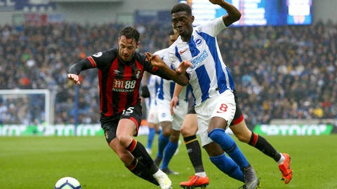 <p>               Bournemouth's Adam Smith, left, and Brighton & Hove Albion's Yves Bissouma battle for the ball during their English Premier League soccer match at the AMEX Stadium, Brighton, England, Saturday, April 13, 2019. (Gareth Fuller/PA via AP)             </p>