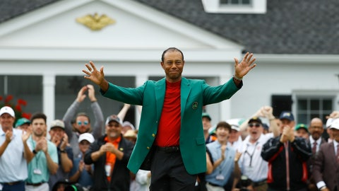 <p>               Tiger Woods smiles as he wears his green jacket after winning the Masters golf tournament Sunday, April 14, 2019, in Augusta, Ga. (AP Photo/Matt Slocum)             </p>