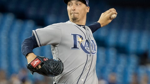 <p>               Tampa Bay Rays starting pitcher Blake Snell throws against the Toronto Blue Jays during the first inning of a baseball game in Toronto on Saturday, April 13, 2019. (Fred Thornhill/The Canadian Press via AP)             </p>