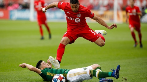 <p>               Toronto FC defender Justin Morrow, top, leaps over Portland Timbers defender Jorge Moreira, bottom, during first-half MLS soccer match action at BMO field in Toronto, Saturday, April 27, 2019. (Cole Burston/The Canadian Press via AP)             </p>