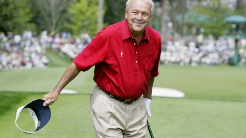 <p>               FILE - In this April 9, 2004, file photo, Arnold Palmer bows to the gallery after landing his tee shot only a few feet away from the pin on the sixth green during the second round of the Masters golf tournament at the Augusta National Golf Club in Augusta, Ga. Augusta National has rules, just like most private clubs, and its members expect them to be followed. Unlike other clubs, however, Augusta doesn't just host a major, it runs the major. The heritage built up over eight decades creates an aura that keeps fans and players on their best behavior. (AP Photo/Amy Sancetta, File)             </p>