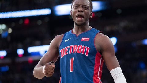 <p>               Detroit Pistons guard Reggie Jackson reacts during the first half of the team's NBA basketball game against the New York Knicks, Wednesday, April 10, 2019, at Madison Square Garden in New York. (AP Photo/Mary Altaffer)             </p>
