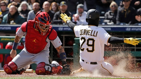 <p>               Pittsburgh Pirates' Francisco Cervelli (29) scores the second of two runs ahead of the tag by St. Louis Cardinals catcher Yadier Molina on a double by Colin Moran in the first inning of a baseball game in Pittsburgh, Monday, April 1, 2019. (AP Photo/Gene J. Puskar)             </p>