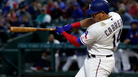 <p>               Texas Rangers' Asdrubal Cabrera (14) follows through on a two-run home run off a pitch from Houston Astros' Justin Verlander in the second inning of a baseball game in Arlington, Texas, Tuesday, April 2, 2019. The shot scored Joey Gallo. (AP Photo/Tony Gutierrez)             </p>