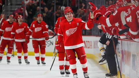 <p>               Detroit Red Wings left wing Taro Hirose greets the bench after scoring during the third period of an NHL hockey game against the Boston Bruins, Sunday, March 31, 2019, in Detroit. (AP Photo/Carlos Osorio)             </p>
