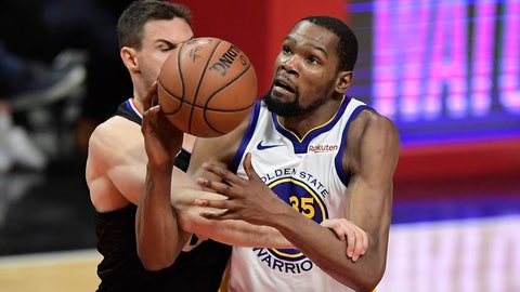<p>               Golden State Warriors forward Kevin Durant, right, is fouled by Los Angeles Clippers forward Danilo Gallinari during the second half in Game 6 of a first-round NBA basketball playoff series Friday, April 26, 2019, in Los Angeles. The Warriors won 129-110. (AP Photo/Mark J. Terrill)             </p>