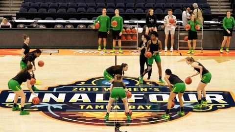 <p>               Oregon players work on a drill during a practice session for the women's Final Four NCAA college basketball semifinal game against Baylor Thursday, April 4, 2019, in Tampa, Fla. (AP Photo/Chris O'Meara)             </p>