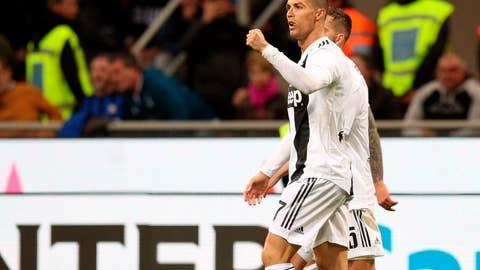<p>               Juventus' Cristiano Ronaldo celebrates after scoring his side's first goal during the Serie A soccer match between Inter Milan and Juventus at the San Siro Stadium, in Milan, Italy, Saturday, April 27, 2019. (Roberto Bregani/ANSA via AP)             </p>