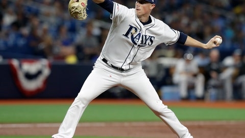 <p>               Tampa Bay Rays relief pitcher Ryan Yarbrough delivers to the Colorado Rockies during the third inning of a baseball game Monday, April 1, 2019, in St. Petersburg, Fla. (AP Photo/Chris O'Meara)             </p>
