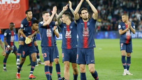 <p>               PSG's Edinson Cavani applauds supporters after the French League One soccer match between Paris-Saint-Germain and Monaco at the Parc des Princes stadium in Paris, Sunday April 21, 2019. PSG were celebrating winning the French League one title. (AP Photo/Michel Euler)             </p>
