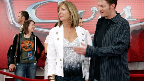 """<p>               FILE - In this May 26, 2006, file photo, NASCAR driver Dale Earnhardt Jr., right, and his mother Brenda Jackson, front left, arrive for the premiere of the Disney/Pixar animated film """"Cars"""" at Lowe's Motor Speedway in Concord, N.C. Jackson, a longtime employee at JR Motorsports, has died following a battle with cancer. She was 65. The team announced her death Monday, April 22, 2019. (AP Photo/Chuck Burton, File)             </p>"""