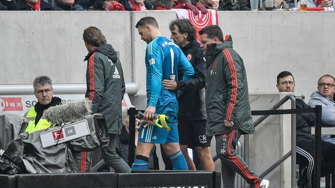<p>               Bayern goalkeeper Manuel Neuer leaves the pitch injured during the German Bundesliga soccer match between Fortuna Duesseldorf and Bayern Munich in Duesseldorf, Germany, Sunday April 14, 2019. (AP Photo/Martin Meissner)             </p>