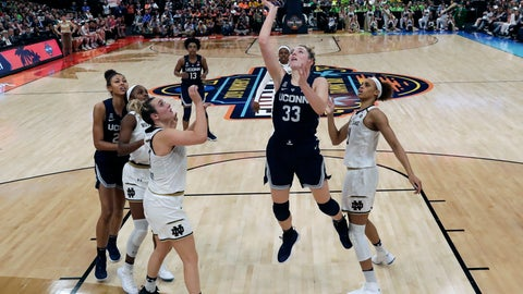 <p>               FILE - In this April 5, 2019, file photo, fans watch as Connecticut's Katie Lou Samuelson (33) goes in to shoot past Notre Dame's Jessica Shepard, front left, and Brianna Turner, right, during the second half of a Final Four semifinal of the NCAA women's college basketball tournament in Tampa, Fla. Fans flocked to the women's NCAA Tournament, which had its highest attendance in over 15 years. (AP Photo/John Raoux, File)             </p>