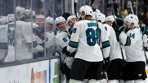 <p>               San Jose Sharks celebrate after defeating the Vegas Golden Knights in Game 6 of a first-round NHL hockey playoff series Sunday, April 21, 2019, in Las Vegas. (AP Photo/John Locher)             </p>