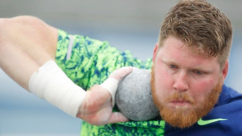 <p>               Ryan Crouser sets to throw during the men's special shot put at the Drake Relays athletics meet, Saturday, April 27, 2019, in Des Moines, Iowa. (AP Photo/Charlie Neibergall)             </p>