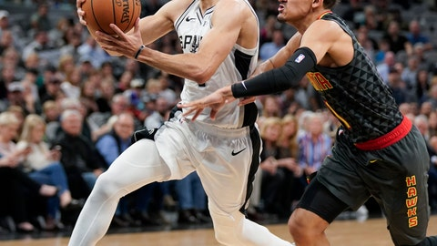 <p>               FILE - In this April 2, 2019, file photo, San Antonio Spurs' Derrick White, left, drives past Atlanta Hawks' Trae Young during the second half of an NBA basketball game, in San Antonio. White's ascension into the Spurs' starting lineup and the pivotal role he has played in helping San Antonio earn its 22nd straight postseason appearance was a greater surprise to him than anyone else.(AP Photo/Darren Abate, File)             </p>