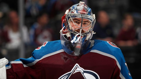 <p>               FILE - In this Wednesday, March 27, 2019, file photo, Colorado Avalanche goaltender Philipp Grubauer takes a break in the second period of an NHL hockey game against the Vegas Golden Knights, in Denver. Once the backup, goaltender Philipp Grubauer has stepped in and helped save the Colorado Avalanche season. He went 7-0-2 down the stretch as the Avs earned the last wild-card playoff spot in the West. (AP Photo/David Zalubowski, File)             </p>