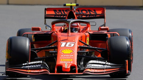 <p>               Ferrari driver Charles Leclerc of Monaco steers his car during the third free practice at the Baku Formula One city circuit in Baku, Azerbaijan, Saturday, April 27, 2019. The Azerbaijan F1 Grand Prix race will be held on Sunday. (AP Photo/Sergei Grits)             </p>