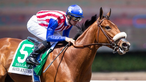 <p>               In this April 6, 2019, image provided by Benoit Photo, Bellafina, with Flavien Prat aboard, wins the Grade I, $400,000 Santa Anita Oaks horse race at Santa Anita Park in Arcadia, Calif. Bellafina is the 2-1 morning line favorite for the 145th Kentucky Oaks after drawing the No. 4 post position in the marquee race for 3-year-old fillies at Churchill Downs. (Benoit Photo via AP)             </p>