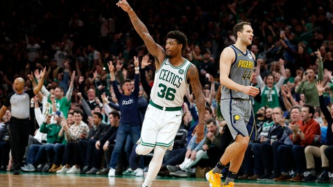 <p>               Boston Celtics' Marcus Smart reacts next to Indiana Pacers' Bojan Bogdanovic after making a 3-point during the fourth quarter of an NBA basketball game Friday, March 29, 2019, in Boston. (AP Photo/Winslow Townson)             </p>