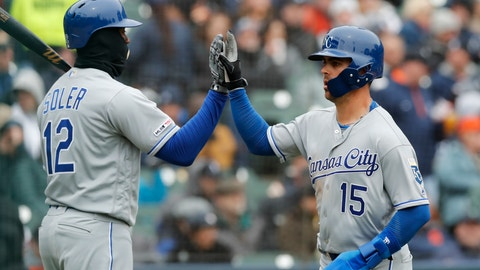 <p>               Kansas City Royals' Whit Merrifield (15) scores on a sacrifice fly to left by teammate Alex Gordon during the fifth inning of a baseball game against the Detroit Tigers, Thursday, April 4, 2019, in Detroit. (AP Photo/Carlos Osorio)             </p>