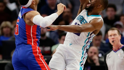 <p>               Charlotte Hornets guard Kemba Walker (15) shoots against Detroit Pistons guard Bruce Brown (6) during the first half of an NBA basketball game Sunday, April 7, 2019, in Detroit. (AP Photo/Duane Burleson)             </p>