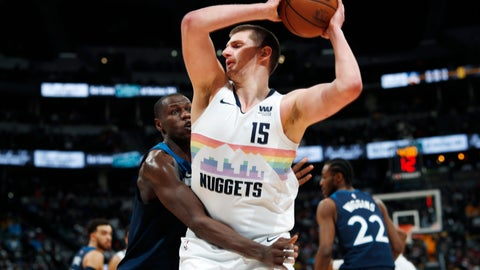 <p>               Minnesota Timberwolves center Gorgui Dieng, left, fouls Denver Nuggets center Nikola Jokic during the second half of an NBA basketball game Wednesday, April 10, 2019, in Denver. The Nuggets won 99-95. (AP Photo/David Zalubowski)             </p>