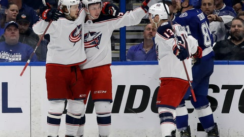 <p>               Columbus Blue Jackets center Matt Duchene (95) celebrates his goal against the Tampa Bay Lightning with teammates, including right wing Cam Atkinson (13), during the second period of Game 2 of an NHL Eastern Conference first-round hockey playoff series Friday, April 12, 2019, in Tampa, Fla. (AP Photo/Chris O'Meara)             </p>