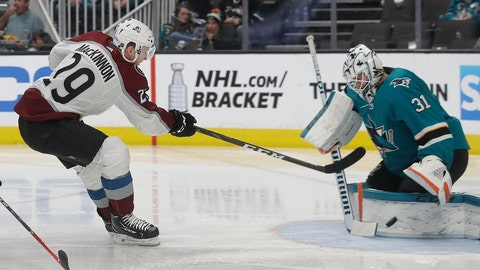 <p>               Colorado Avalanche center Nathan MacKinnon (29) shoots against San Jose Sharks goaltender Martin Jones (31) and scores, during the second period of an NHL hockey game in San Jose, Calif., Saturday, April 6, 2019. (AP Photo/Jeff Chiu)             </p>