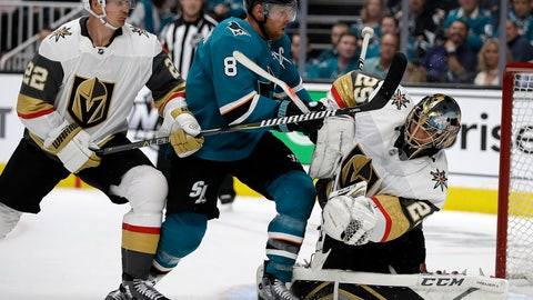 <p>               San Jose Sharks' Joe Pavelski (8) reacts after scoring a goal against Vegas Golden Knights goalie Marc-Andre Fleury, right, during the first period of Game 1 of an NHL hockey first-round playoff series Wednesday, April 10, 2019, in San Jose, Calif. At left is Golden Knights defenseman Nick Holden. (AP Photo/Ben Margot)             </p>