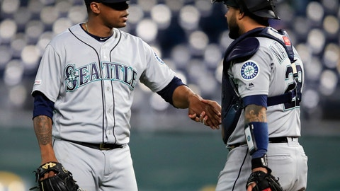 <p>               Seattle Mariners relief pitcher Roenis Elias, left, is congratulated by catcher Omar Narvaez following the team's baseball game against the Kansas City Royals at Kauffman Stadium in Kansas City, Mo., Wednesday, April 10, 2019. The Mariners defeated the Royals 6-5. (AP Photo/Orlin Wagner)             </p>