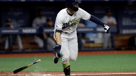 <p>               Tampa Bay Rays' Austin Meadows watches his two-run triple off Boston Red Sox pitcher Bobby Poyner during the seventh inning of a baseball game Saturday, April 20, 2019, in St. Petersburg, Fla. (AP Photo/Chris O'Meara)             </p>
