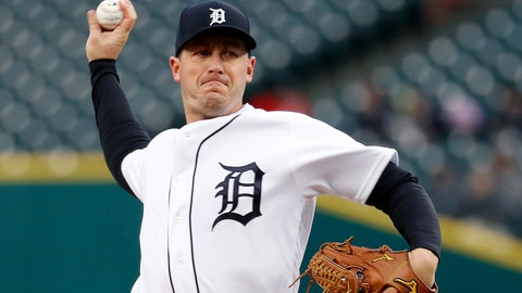 <p>               Detroit Tigers pitcher Jordan Zimmermann throws to a Chicago White Sox batter during the first inning of a baseball game in Detroit, Friday, April 19, 2019. (AP Photo/Paul Sancya)             </p>