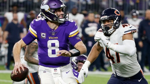 <p>               FILE - In this Dec. 30, 2018, file photo, Minnesota Vikings quarterback Kirk Cousins runs from Chicago Bears linebacker Isaiah Irving, right, during the second half of an NFL football game, in Minneapolis. Once again, Minnesota's biggest need in the draft is up front. The Vikings have used a first-round pick on an offensive lineman only once, in 2012, in the last 16 years, but they're due for an upgrade next week. (AP Photo/Bruce Kluckhohn, File)             </p>