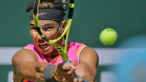 """<p>               FILE - In this Friday, March 15, 2019 file photo, Spain's Rafael Nadal hits a return to Russia's Karen Khachanov at the BNP Paribas Open tennis tournament, in Indian Wells, Calif.  The second-ranked Spaniard Nadal is making his latest comeback at the Monte Carlo Masters, April 13-21, """"It has been a tough year and a half for me, so it's tough to have a clear view about how I am,"""" Nadal said Monday April 15, 2019, at the tournament. (AP Photo/Mark J. Terrill, file)             </p>"""