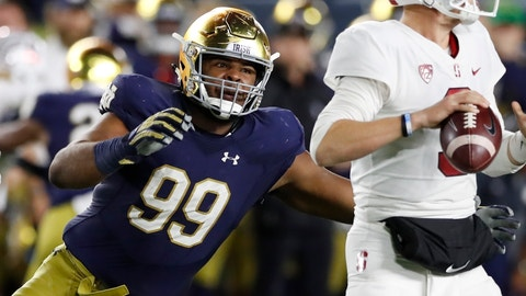 <p>               FILE - In this Sept. 29, 2018, file photo, Notre Dame defensive lineman Jerry Tillery rushes Stanford quarterback K.J. Costello during the second half of an NCAA college football game, in South Bend, Ind. Tillery is a possible pick in the 2019 NFL Draft. (AP Photo/Carlos Osorio, File)             </p>
