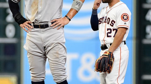 <p>               New York Yankees' Aaron Judge, left, talks with Houston Astros second baseman Jose Altuve during the seventh inning of a baseball game, Monday, April 8, 2019, in Houston. (AP Photo/Eric Christian Smith)             </p>