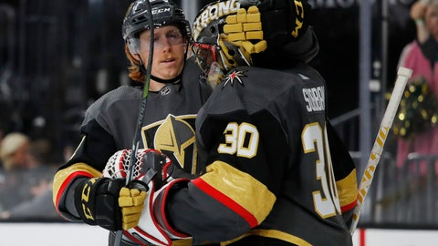 <p>               Vegas Golden Knights center Cody Eakin, left, embraces Vegas Golden Knights goaltender Malcolm Subban after their team defeated the Edmonton Oilers in an NHL hockey game Monday, April 1, 2019, in Las Vegas. (AP Photo/John Locher)             </p>