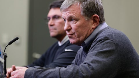 <p>               Carolina Panthers general manager Marty Hurney, front, speaks to the media as head coach Ron Rivera, back, listens in Charlotte, N.C., Wednesday, April 17, 2019 in advance of the NFL draft. (AP Photo/Chuck Burton)             </p>