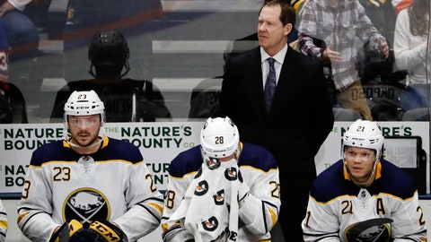 <p>               Buffalo Sabres head coach Phil Housley, top, Sam Reinhart (23), Zemgus Girgensons (28) and Kyle Okposo (21) react during the third period of an NHL hockey game against the New York Islanders, Saturday, March 30, 2019, in Uniondale, N.Y. (AP Photo/Frank Franklin II)             </p>